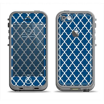 The Navy & White Seamless Morocan Pattern Apple iPhone 5c LifeProof Fre Case Skin Set