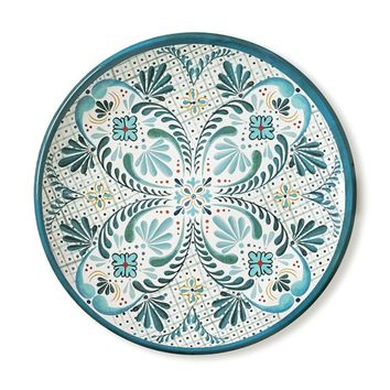 Veracruz Blue Melamine Dinner Plates, Set of 4