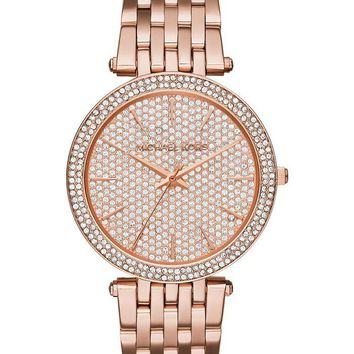New Michael Kors Darci RoseGold Pave Crystal Stainless Steel MK3439 Women Watch