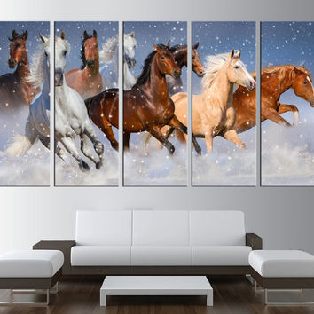 horses canvas print wall art, horses wall art, horses running wall Art, large canvas print, extra large wall art, large canvas  t170