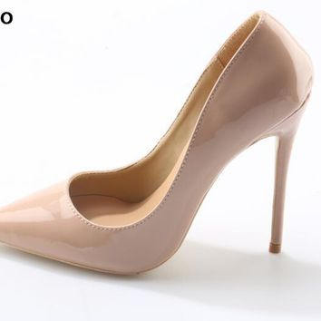 Apoepo women high heel pointed toe slip on sexy pumps 10 cm and 12 cm nude high heel wedding bride shoes concise style stilettos
