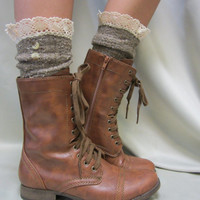NORDIC LACE Brown Socks lace boot socks boot socks combat boot socks womens boot socks cowboy boot socks Catherine Cole Studio SLX1B