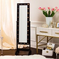 Free-Standing Cheval Jewelry Armoires with Optional LED Lights