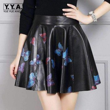 ONETOW 2018 New Fashion Womens High Waist England Style Ball Gown Genuine Leather Sheepskin Female Skirts Butterfly Printing Plus Size