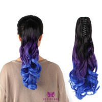 "Ombre Three Tone Ponytail Hair 20""/50cm Long Jaw Claw Style Synthetic Wavy Curly Hair Extensions"