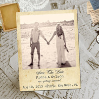 "50 Wedding Save The Date Magnets - KeyWest Vintage Photo Personalized 4.25""x5.5"""
