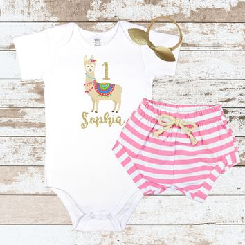 First Birthday llama Pink Shorts Outfit