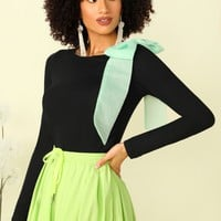 Bow Embellished Form Fitted Top