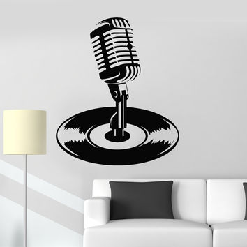 Wall Decal Microphone Vinyl Record Karaoke Music Musical Stickers Unique Gift (ig4824)