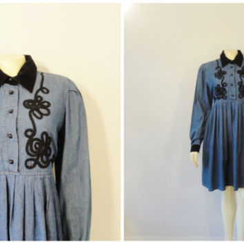 Vintage Dress 90s California Gold Rush Denim & Black Velveteen Collar Cuffs and Empire Waist Long Sleeve Dress Medium Modern Medium to Large