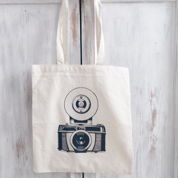 Cotton Canvas tote bag photography camera