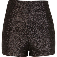 Black sequin high waisted shorts