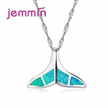 Jemmin Cute Blue Fire Opal Whale Tail Pendant Necklace Women 925 Sterling Silver Chain Necklaces for Women Girls Jewelry Gifts