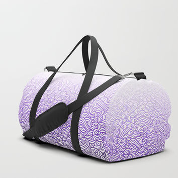 Gradient purple and white swirls doodles Duffle Bag by Savousepate