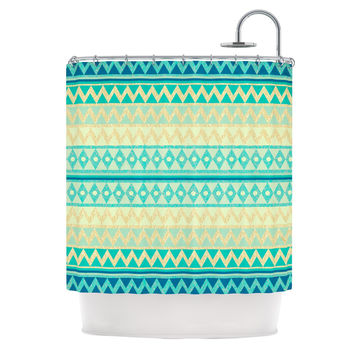 "Nika Martinez ""Glitter Chevron in Teal"" Blue Pattern Shower Curtain"