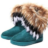 Women's Warm High Long Snow Ankle Boots Faux Fox Rabbit Furtassel Shoes