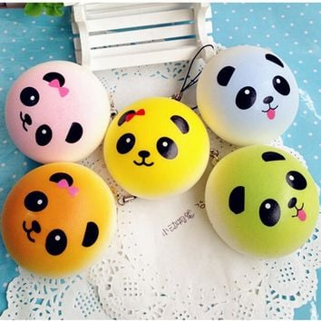 1PC4 cmS  Lovely Round Panda Squishy  Buns Bread Charms Kawaii Key/Bag/Cell Phone Straps Bag Parts & Accessories
