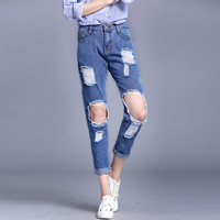 Ripped Jeans For Women 2017 Woman Skinny Pants Slim Trousers For Women High Waist Women's Hole Jeans mom jeans fashion trousers