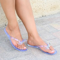 Bow Clear Studded Jelly Sandals