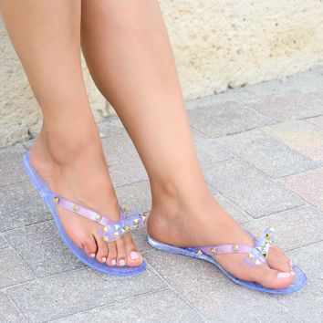 Bow Studded Clear Jelly Sandals