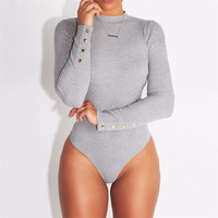 Fashion Sexy Women Long Sleeve O Neck Stretch Bodysuit Lady Leotard Body Tops Europe and America