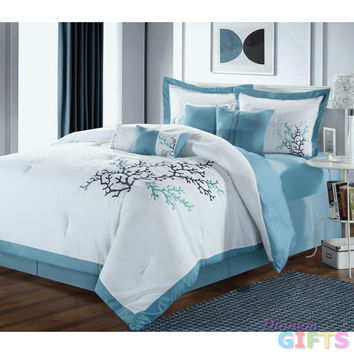 8pc Luxury Bedding Set- Coral Leaf White/Blue