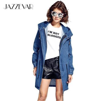 CREYL JAZZEVAR autumn winter high fashion street woman casual hooded trench denim cooton washed outerwear loose clothing good quality