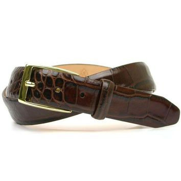 Anthony Alligator Grain Leather Belt in Brown by Martin Dingman