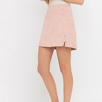 Urban Renewal Vintage Remnants Pink Suede Side Zip Skirt - Urban Outfitters