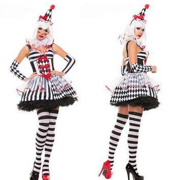 Funny Harley Quinn Costume Women Adult Female Clown Circus Cosplay  Carnival Halloween CostumesDress+headwear+glove  For Women