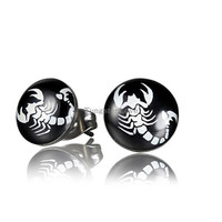 10mm Unisex Stainless Steel Round Stud Earrings Gifts for Men Women Scorpions earring For Pierced Ears Punk Cool Jewelry