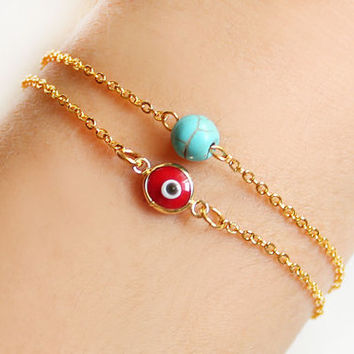 Evil eye bracelet red turquoise bracelet gold plated chain dainty istanbul turkey jewelry ethnic arabic best friend birthday gift