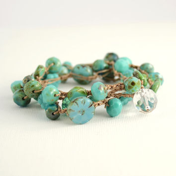 Wrap bracelet. Crocheted turquoise wrap bracelet, anklet or necklace