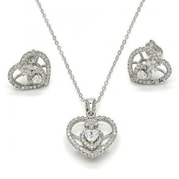 Sterling Silver Necklace and Earring, Heart and Flower Design, with Cubic Zirconia and Crystal, Rhodium Tone