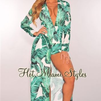 White Green Palm Print Long Sleeves Maxi Romper