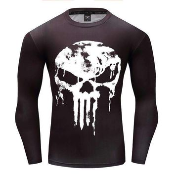 2018 Newest Long Sleeve 3D T Shirt Men Crossfit Tops Punisher Superhero Skull Superman tshirt Men Fitness Compression Shirt