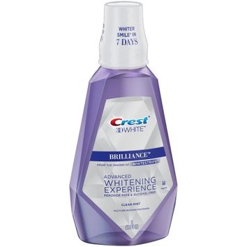 Crest 3D White Brilliance Alcohol Free Whitening Mouthwash, Clean Mint, 33.8oz - Walmart.com