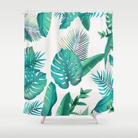 Tropical leafs pattern Shower Curtain by printapix