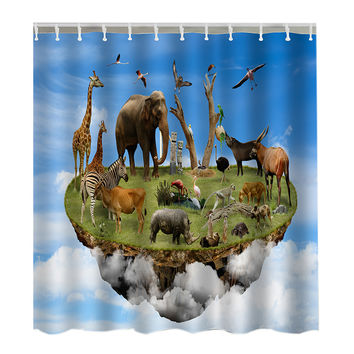 3D Animal Word Print Shower Curtain Bathroom