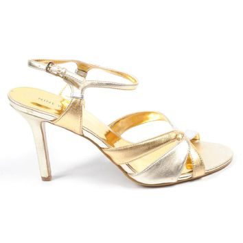 Nine West Womens Ankle Strap Sandal NWYASAMIN GOLD MULTI