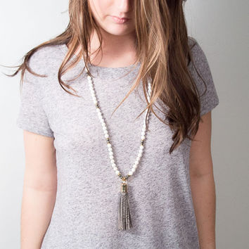 Tassel Necklace | Boho Necklace | Grey Tassel | Leather Necklace | Leather Tassel | Bohemian Necklace | Boho Tassel | Tribal Necklace