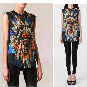Women Clothing Metal Button Hipster Balmaied Indian Chief Graphic Brand Sleeveless Balm Camisetas Cotton Tops Tshirt Tee T Shirt
