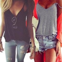 Women Summer Vest Sleeveless Cotton Shirt Blouse Loose Casual Tank Top T-Shirt