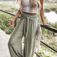 Green Knot Draped High Waisted Casual Linden Wide Leg Long Pants