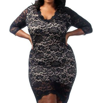 Chicloth Black Plus Size Laced Overlay High Low Dress