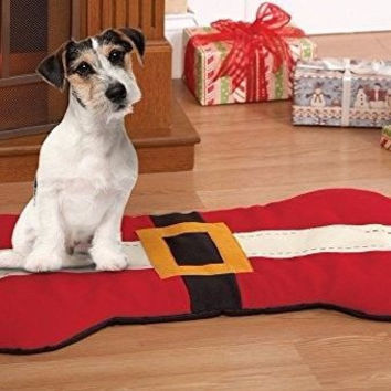 Dog Santa Red Suit Bone Shaped Bed Mat