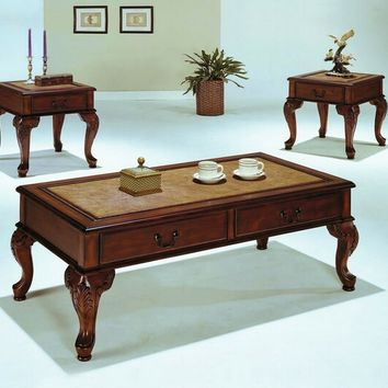 3 pc trudeau collection cherry finish wood coffee table and end tables