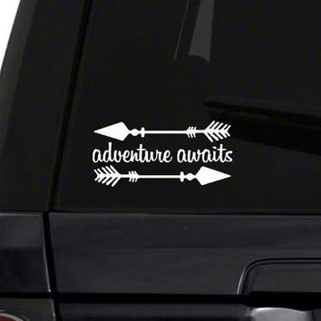 Adventure Awaits Car Vinyl Decal | Arrows Car Sticker Decal | Cute Arrow Vinyl Design | Yeti Arrow Vinyl Design | iPhone MacBook Phone | 237