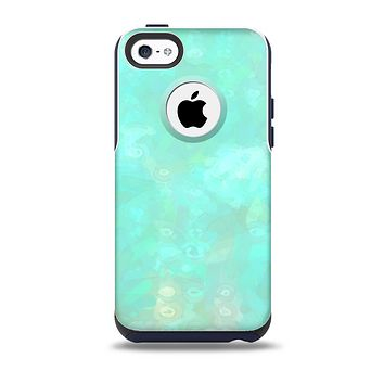 The Bright Teal WaterColor Panel Skin for the iPhone 5c OtterBox Commuter Case