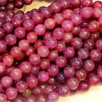 ESBONHS Natural Genuine High Quality Red Ruby Round Loose Stone Beads 3-18mm Fit Jewelry DIY Necklaces or Bracelets 15' 03823